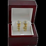 Estate 14K Gold Diamond Ornate Two-Tone Hoop Earrings