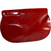 Luxury Charles Jourdan Soft Lambskin Red Leather Handbag / Clutch