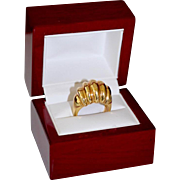 Wide 14K Gold Fluted Dome Modernist Ring