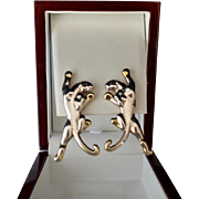 Custom Designed Sterling and Gold Plate Panther Earring Clips