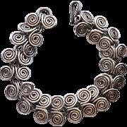 """Sterling Silver Mexico Spiral """"Wave"""" Link Bracelet"""