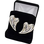 Modernist Designer Sterling Silver Heart Earrings Spain