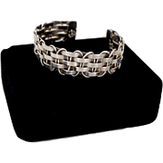 Sterling Silver Basket Weave Cuff Bracelet Mexico
