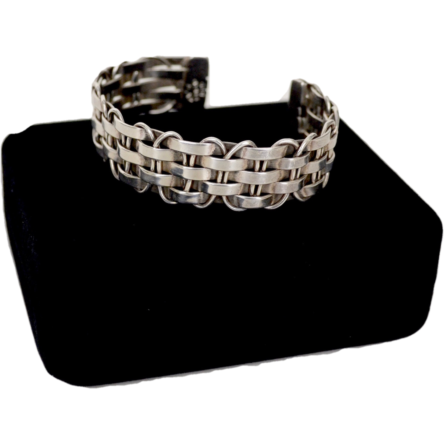 How To Basket Weave Bracelet : Sterling silver basket weave cuff bracelet mexico from
