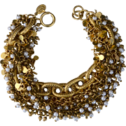 French 10K Gold Plate Seed Pearls Victorian Inspired Multi-Strand Bracelet