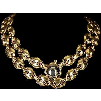 Italian 14K Gold Decorative Horsebit Link Necklace / Bracelet