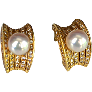 Estate 18K Gold Freshwater Cultured Pearl & Diamond Earrings