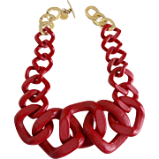 Modernist Designer Red Resin Jumbo Link Necklace