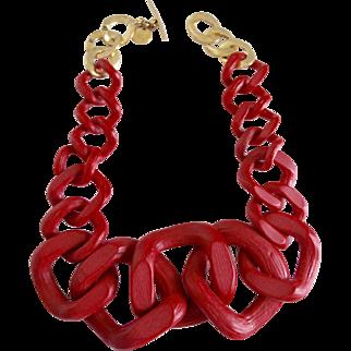 Modernist Designer Red Resin Jumbo Link Necklace
