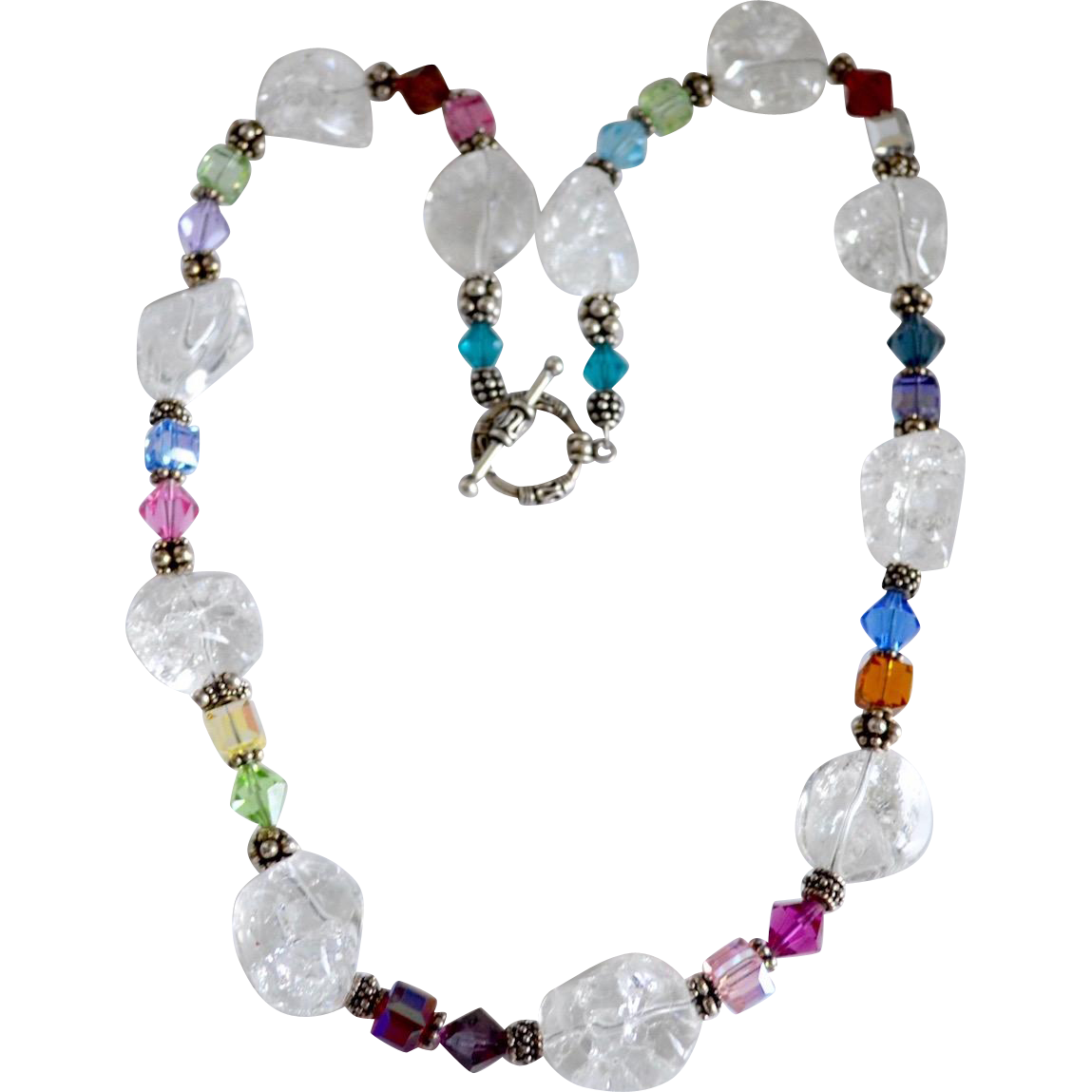 Rock Crystal Quartz Artisan Beaded Bali Silver Necklace