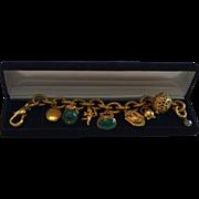 Vintage Italian Etruscan Style 12K Gold Filled Ornate Fob, Orb, Charm Bracelet
