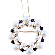 Estate Fancy Cultured Pearl, Sapphire & Diamond 14K Gold Pendant / Brooch