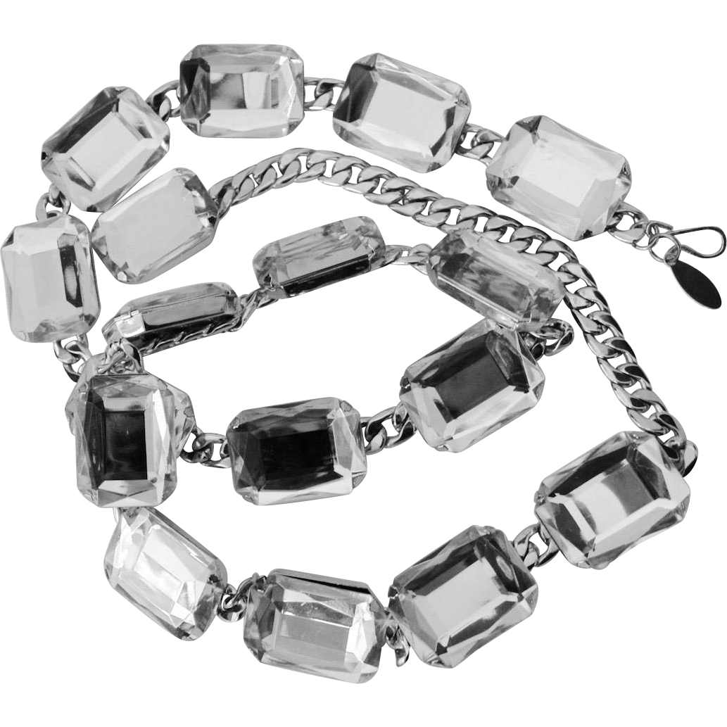 Chunky Lucite Faceted Clear Gemstone Style Flat Link Style Belt