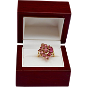 Pink Tourmaline Floral Spray 14K Gold Ring