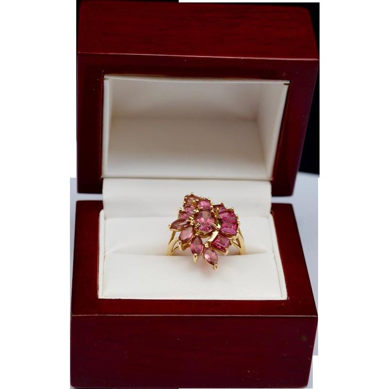 Pink Tourmaline Floral Spray 14K Gold Ring