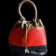 Gorgeous Brighton Tri Colored Leather Bucket Style Handbag