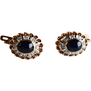 14K Rose Gold Sapphire Cabochon Diamond Drop Earrings