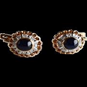 14K Rose Gold Sapphire Cabochon Diamond Drop Earrings