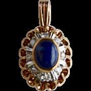14K Rose Gold Sapphire Cabochon Diamond Pendant