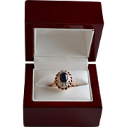 Estate 14K Rose Gold Sapphire Cabochon Diamond Ring