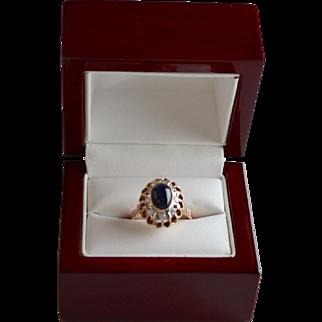 Estate 14K Rose Gold Sapphire Cabochon Diamond Ring
