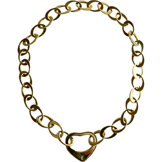 Chunky Italian 18K Gold Ladies Large Oval Open Link Heart Necklace