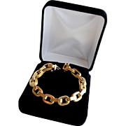 Estate Italian 18K Yellow Gold High Polished / Rope Designer Bracelet