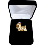 Estate 14k Gold Sapphire Diamond Yorkie Brooch Signed