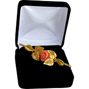 Vintage 18K Gold Etched Leaf Brooch Accented with Sardina Red Coral Rose
