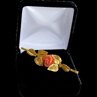 Vintage 18K Gold Etched Leaf Brooch Accented with Sardina Red Coral Rose