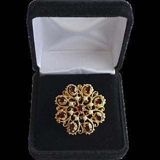 Estate 14K Gold Red Garnet Cultured Seed Pearl Floral Pendant Brooch
