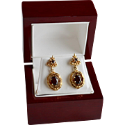 Ornate 14K Red Garnet Drop Bamboo Mount Pierced  Earrings