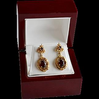 Ornate 14K Red Garnet Drop Bamboo Mount Pierced  Earrings