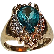Ladies 3.70 Carat Paraiba Topaz Pear Shaped Ring