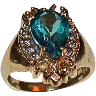 Ladies 3.70 Carat Paraiba Topaz Pear Shaped Ring
