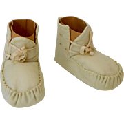 Vintage Ecru Satin Hand-Stitched Baby or Doll Shoes