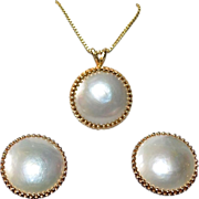 Estate 14k Gold Mabe Natural Pearl Necklace Earring Set