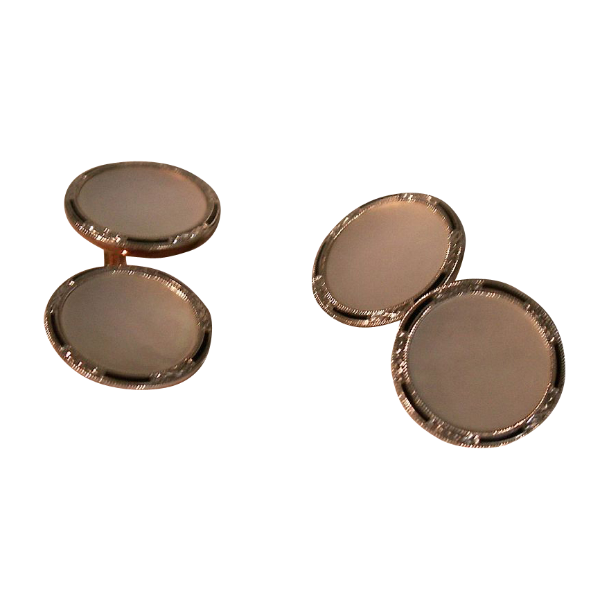 Tuxedo 14kt Gold Dual Side Mother of Pearl Cufflinks