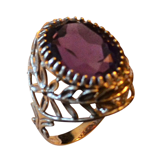 Ornate 14kt Gold Ladies 7.86 Carat Amethyst Ring