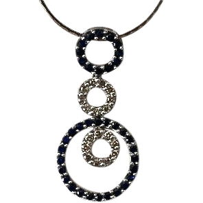 Estate 14kt Gold Sapphire Diamond Eternity Necklace