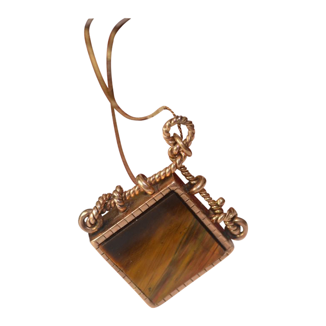 Estate 14kt Gold Victorian Reversible  Gemstone Pendant