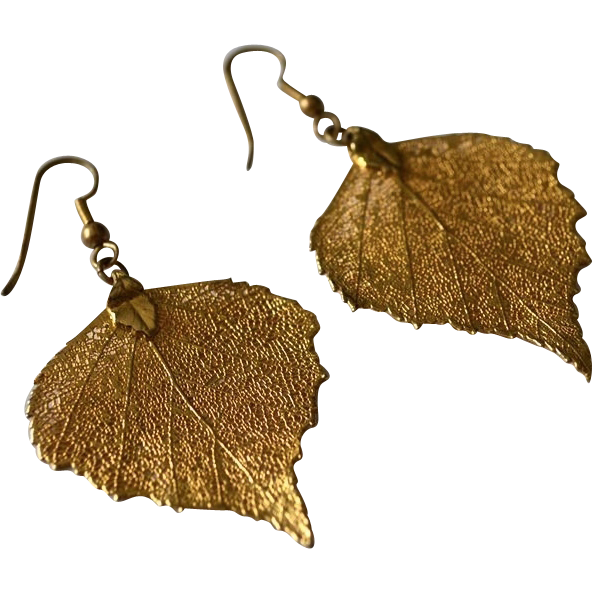 Nature's Beauty 24kt Gold Dipped Oak Leaf Earrings