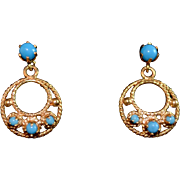 Fancy 14K Gold Persian Turquoise Etruscian Style Earrings