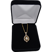 14K Gold Diamond Pave Encased Onyx Gemstone Pendant Necklace 50% Off
