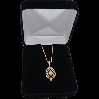 14K Gold Diamond Pave Encased Onyx Gemstone Pendant Necklace