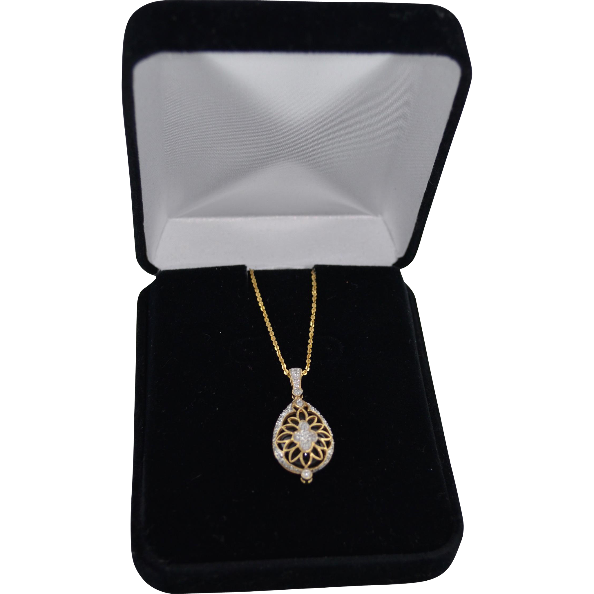 14K Gold Diamond Pave Encased Onyx Gemstone Pendant Necklace