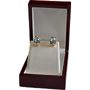 Elegant Estate 14K Gold Diamond Topaz J-Hoop Pierced Earrings