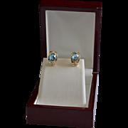 Elegant Estate 14K Gold Diamond Topaz J-Hoop Pierced Earrings