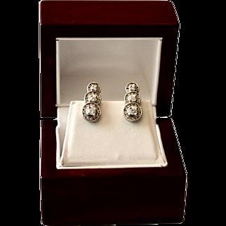 Elegant 14K Gold Triple Halo Diamond Omega Back Earrings