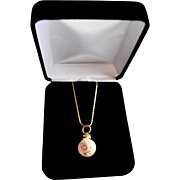 Carved Angel Skin Coral Pendant 18K Gold Bale With Box Chain